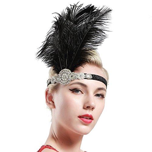 ing Prom Ostrich Feder Stirnband Party Headwear 1920er Jahre Zubehör für Frauen Hyperbole Art Deco Style (1920er-jahre-prom-design)