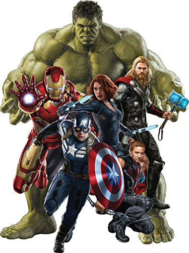 Stickersnews - Stickers Hulk-Iron man-Captain América-Hawkeye-Black Widow Avengers ref 15043 Hauteur - Hauteur 30cm