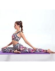 estallido modelos de verano de Europa y América de impresión de alta calidad a prueba de golpes deportivos ropa de yoga chaleco apretado traje de pantalones de secado rápido , B , m