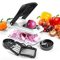 Gemüseschneider, Pommesschneider, Spiralschneider,Godmorn 5 Austauschbare Klingen mit Gemüsehobel aus Edelstahl, Slicer, Streifen, Würfeln