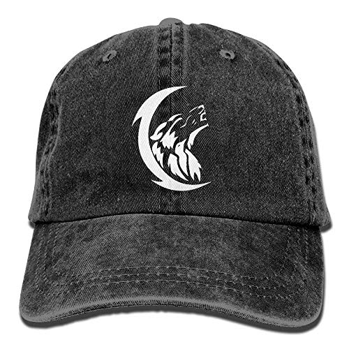 j65rwjtrhtr Men's/Women's Adjustable Denim Jeans Baseball Kappen Wolf Moon Trucker Cap