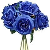 Ramo de flores artificial, 25 cm, diseño de rosas azules