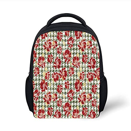 Kids School Backpack Floral,Vintage Classic with Scottish Houndstooth Vivid Rose Florets Feminine Pattern Decorative,Hunter Green Ruby Plain Bookbag Travel Daypack -
