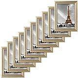 EUGAD 10er Set Bilderrahmen Fotogalerie, 9426-10, Holz Rahmen, mit Glasscheibe, mit Passepartout, Artos Gold, 15x20 cm