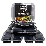 3-Fach Meal Prep Container| Dailybasic© | 6+1 GRATIS Pack | Mikrowellen, Spülmaschinen und Gefrierschrank geeignet | beste Qualität | GRATIS E-Book mit leckeren Rezepten | Bento-Box | Food-Container