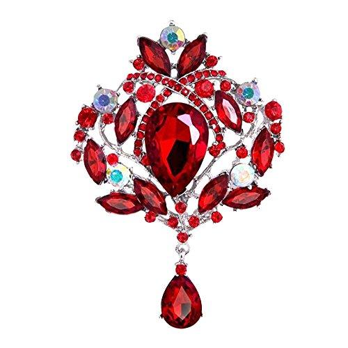 Pin Blume Rote Brosche (Contever® Damen Strass-Glas Blumen Brosche Pin Schmuck Zubehör (Rot))