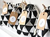 Fabric Advent Calendar Garland Bag for Men Black and White Fabric Pouches To Fill Craft