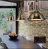 ZQ@QX Decorazione della casa Lampadario Lampadario retrò moderno heavy metal il ristorante Café ferro in barre,Bronzo