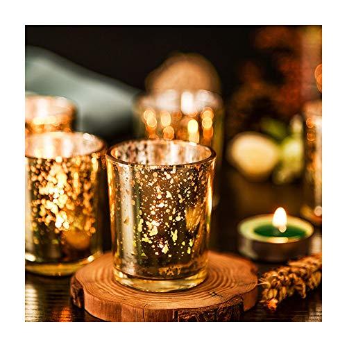 Supreme Lights Glas Teelichthalter 12er Set, 5.2x6.2cm, Gefleckter Teelichtgläser Geschenk Kerzenhalter Deko für Geburtstag, Party, Hochzeit, Feier, Haushalt, Gastronomie(Gold)