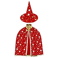 AISHN Wizard Cape with Hat Kids, Halloween Kids Costumes, Witch Cape for 3-12 years Children