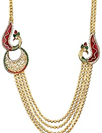 Dancing Girl Bridal Peacock Maroon Green Metal Alloy Jewellery Set With Necklace And Earring For Women