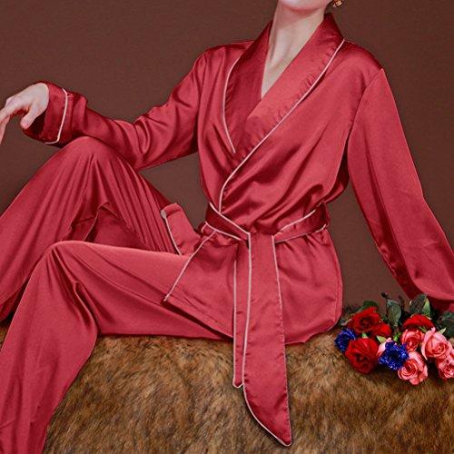 Zhhlaixing Fashion Womens Satin Silk Long Sleeve Nightwear Sleepwear Pajama Set red