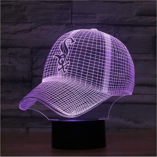 YS753 Mode Led 3D Illusion Nachtlicht Chicago White Sox Baseball Team Cap 7 Farbe Amerikanischen Baseball Mütze Decor Bulb USB Visuelle Lampe - Chicago-lampe