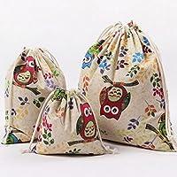 Kanggest 3pcs Bolso con cordón Cubo plegable de Patrón de búho lino y algodón cesta para