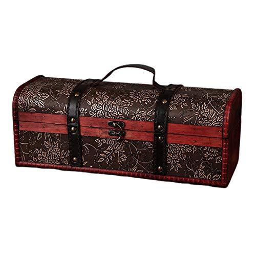 Descripción: Aspecto vintage de madera y cuero, madera real, piel artificial, mide aproximadamente 36 x 13 x 13 cm. Ideal para envolver regalos de tu vino favorito, o para complementar tu colección de vinos. Soporte de estante para asegurar la botell...