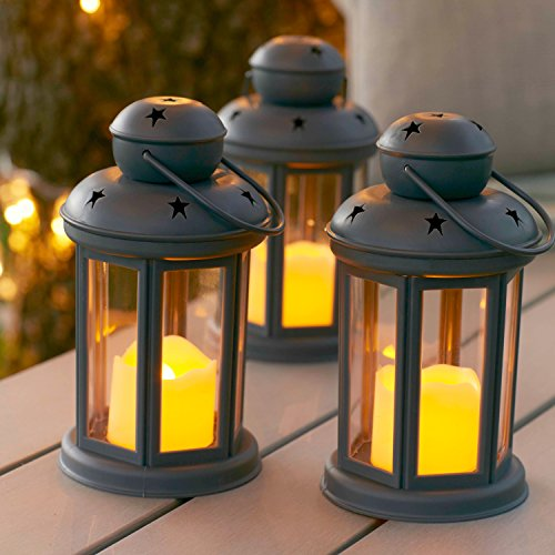 Lot de 3 Lanternes Gris Anthracite avec Bougies LED à Piles pour Intérieur/Extérieur par Lights4fun
