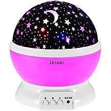 Intsun Lampada Stelle Luna, Stelle cosmo proiettore della luce di note, illuminazione della lampada, 4 LED Perle, 360 gradi Romantic Room rotante proiettore della stella dell'universo per Natale