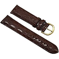 20mm Calf leather watch strap band in croc-design brown with buckle in gold