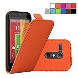 COOVY® Funda para Motorola Moto G XT1032 XT1033 (1. Generation Model 2013) COVER CASE CUBIERTA DELGADO FUNDA PROTECTORA CON TAPA con lámina protectora de pantalla | Color naranja