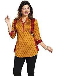 ca9cccfc6a0 Color Petal Short Printed Designer Cotton Silk Kurti Tunic Top for Women