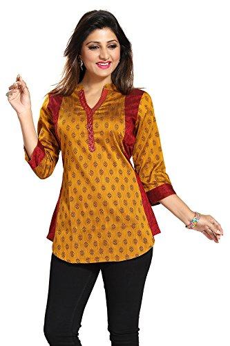 Color Petal Short Printed Designer Cotton Silk Kurti Tunic Top for Women...