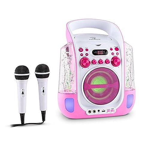 auna Kara Liquida Chaîne karaoke portable avec lecteur CD et MP3 (LED, 2 micros, port USB) - rose
