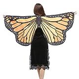 Kword Pashmina Stampato, Costume Donna Accessorio, Ali Farfalla Scialle Sciarpe Signore NINFA Pixie Poncho 135-175CM (Arancione)