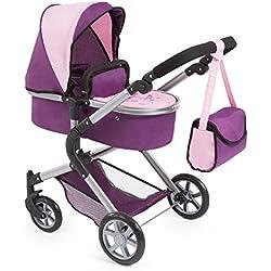 Bayer Design 18164AA carrito para muñecas NEO STAR con bolso cambiador y cesta de la compra debajo Convertable para carrito de bebé, color morado, color rosa