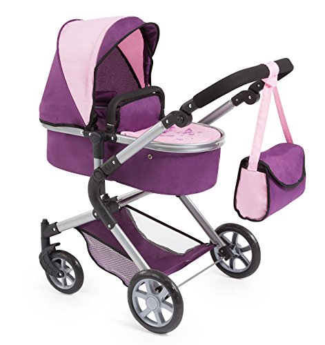 BAYER Landau pour poupée Neo Star prune et rose avec sac a bandouliere et panier d'achat intégré réglable - convertible poussette