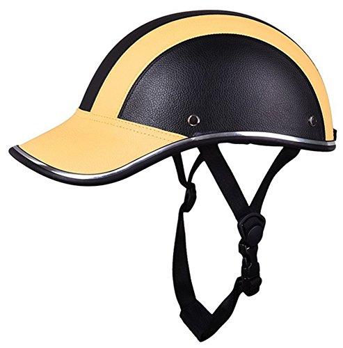 Motorrad Hälfte Gesicht Helm Schutz Helme Pferd Reiten Helm Leder Baseball Deckel zum Männer Frau Mädchen 5 Farben (Gelb)