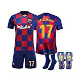 GNMM Trikot Fu?Ball Barcelona Trikot Griezmann 17# Trikot Erwachsene Kinder Anzug Kurzarm + Shorts + Socken Fu?Ball Uniform(4 Stück)