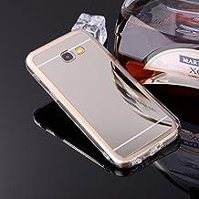 sycode Galaxy A32017espejo caso, Galaxy A32017espejo funda Style, Lujo TPU suave TPU Bumper Carcasa de silicona Handy Cover Reflecting protectora antigolpes Carcasa Espejo, tecnología, Placa carcasa para Samsung Galaxy A32017-gold
