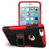 Boom Shock 2 iPhone 6 6S Plus Case With Kickstand Stand. Slim Protective Design. Non Slip Grip. Unique Hybrid Soft & Hard Shockproof Protection Mobile Phone Cover for Apple iPhone. No Risk 3 Year Warranty. (Red)