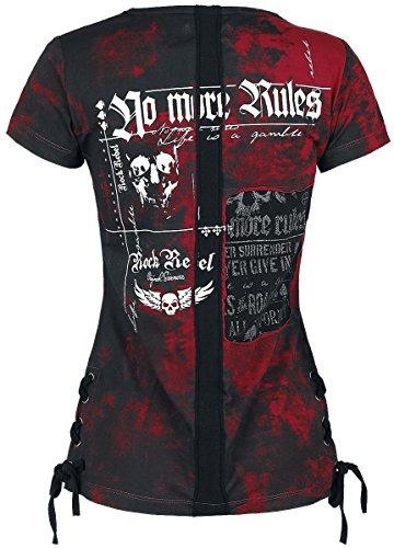 Rock Rebel by EMP Eyelet Lace Up Shirt T-shirt Femme noir/rouge noir/rouge