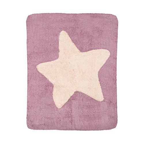 Alfombra infantil lavable rosa con estrella blanco roto 120x160