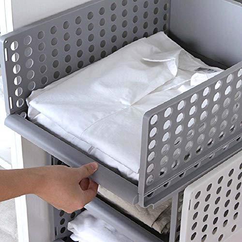 hublade Lagerregale Kleidung Veranstalter Korb Regal Schubladen Stapeln Wohnmöbel Kleiderschrank Teiler Trennwand Würfel Snacks Container, L ()