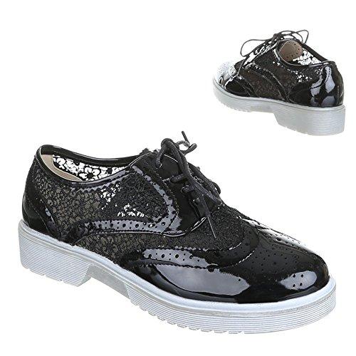 GM9012 chaussures femme, chaussures, bottes, lacets Noir - Noir