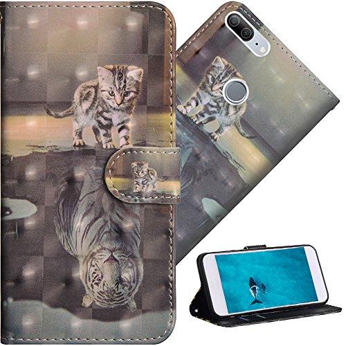 COTDINFOR Huawei Honor 9 Lite Hülle für Geschenk Lederhülle 3D-Effekt Kartenfächer Schutzhülle Protective Handy Tasche Schale Standfunktion Etui für Huawei Honor 9 Lite Cat Tiger YX.
