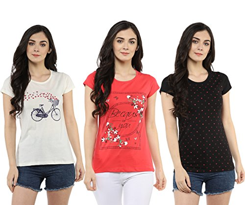 Modeve Printed T-Shirts for Women Combo Pack of 3 (Peach, Cream & Black) (XX-Large)