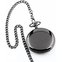 Tirio Mens Black Smooth Stainless Steel Case White Arabic Numbers Modern Pocket Watch