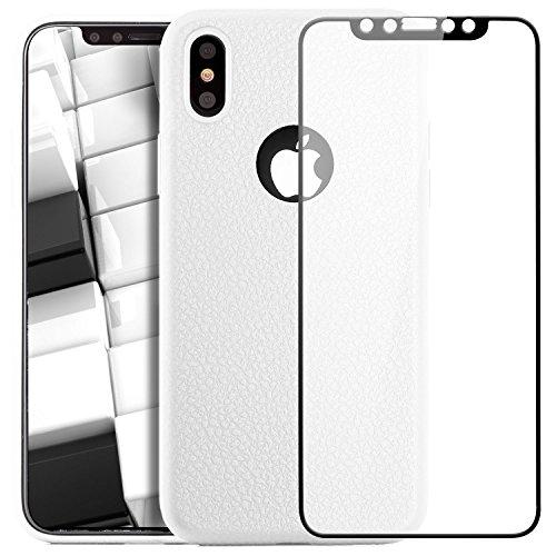 iPhone X Coque + Verre Trempé 3D, zanasta Etui Silicone Ultra Mince Case Housse de Protection Souple Touché Doux TPU Structure Design [Couverture Complète] Blanc Blanc