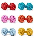 THE SUITS CREW 6X Paare Seidenknoten-Set Manschettenknöpfe für Herren Damen Nylon Stoff | Cufflinks für Alle Umschlagmanschetten | Einfarbig Modern