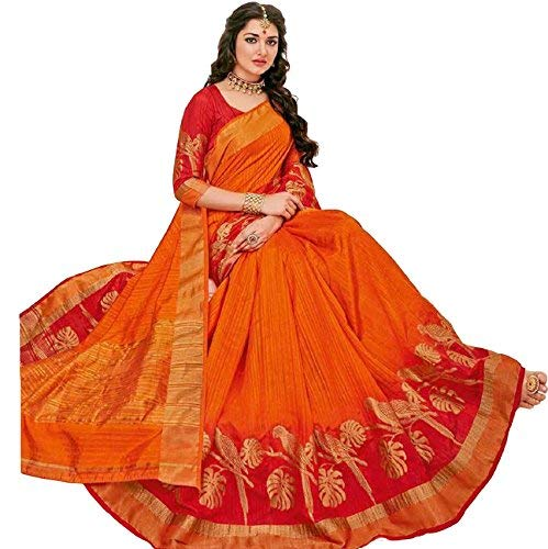 Rajguru Raw Silk Saree With Blouse Piece (RSP-LI-3013_Bright orange to Red Ombre_Free Size)