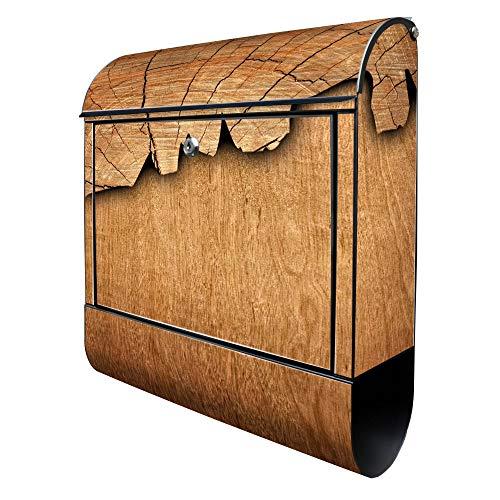 BANJADO Design Briefkasten schwarz | 38x47x13cm groß mit Zeitungsfach | Stahl pulverbeschichtet | Wandbriefkasten mit Motiv Holz | ohne Standfuß