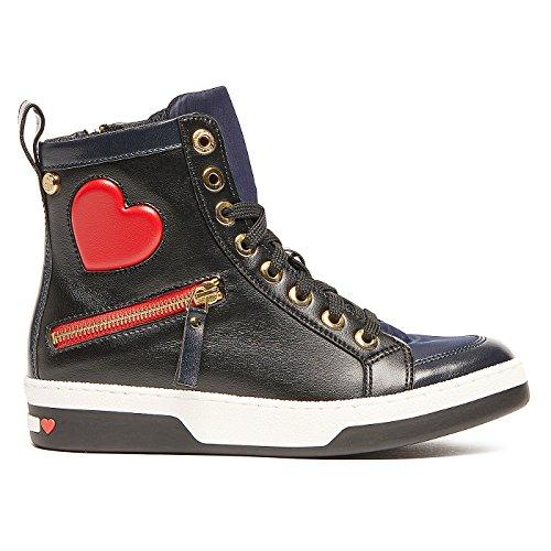 Sneaker alte in pelle sintetica con applicazione cuore Nero