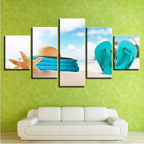 cmdyz (Nessuna Cornice) Dipinti su Tela Wall Art HD Stampe Immagini 5 Pezzi Starfish Poster r Cappello Estivo da Spiaggia in Paglia Infradito Home Decor