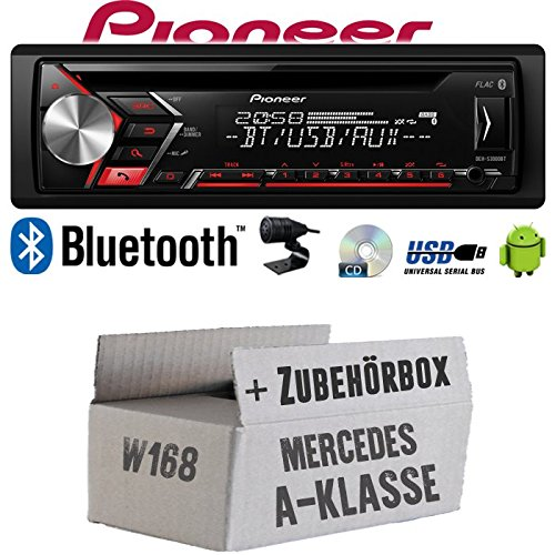Autoradio Radio Pioneer DEH-S3000BT - Bluetooth | CD | MP3 | USB | Android Einbauzubehör - Einbauset für Mercedes A- JUST SOUND best choice for caraudio