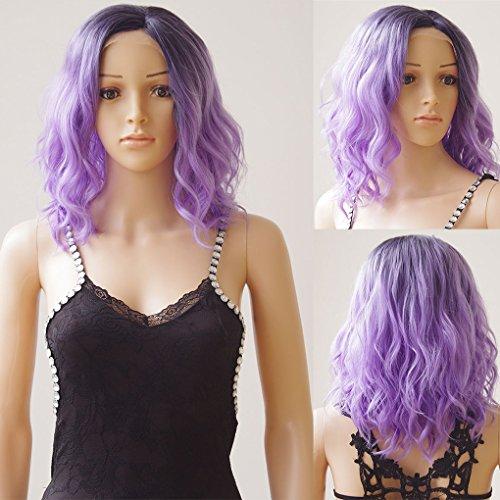 40,6cm short bob wave u part lace front wigs ombre nero mix viola resistente al calore sintetico capelli mossi parrucca per le donne