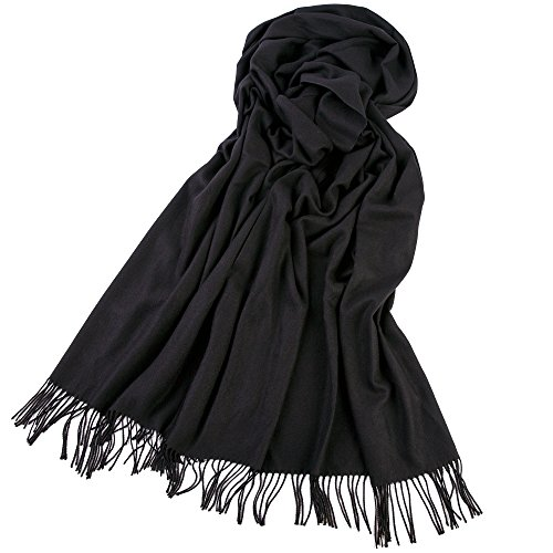 Mode lang Schal Winter warm Soft Kaschmir groß Schal Wrap solide Farbe groß Pashmina Unisex Black (Top Ribbed Tube)