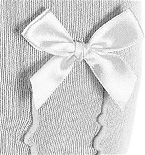 normani 1,2 oder 3 Paar - Damen Kniestrümpfe traditionelle Trachtenmode mit Satinschleife und eingestrickter Rüsche von Größe 35 bis 42 Farbe Weiß - 1 Paar Größe 39/42 - 2